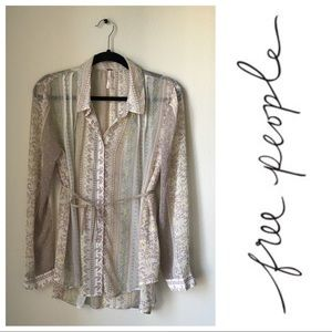 Free People Sheer Beige Flower Button Up Blouse